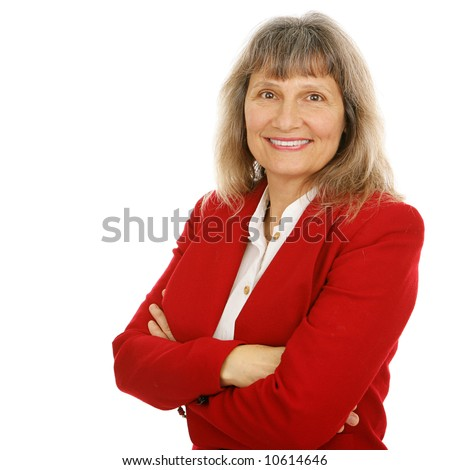 Friendly, confident middle-aged businesswoman or realtor.  Isolated on white.