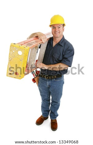 Friendly construction worker carrying a ladder over his shoulder.  Full body isolated on white. - stock photo