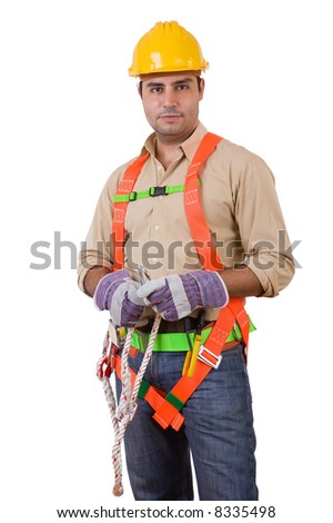 Friendly construction worker - over a white background - stock photo