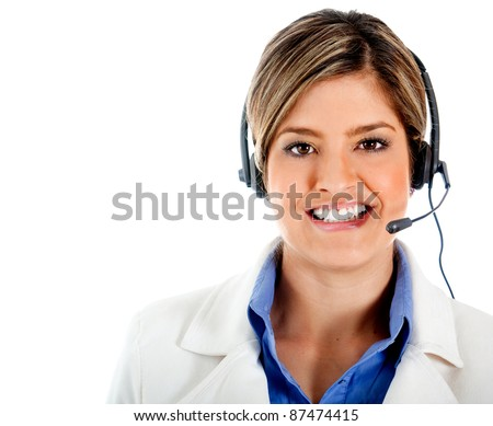 Friendly customer representative wearing a headset and smiling - isolated over white