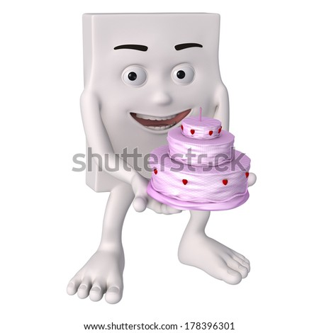 Friendly 3d figure with isolated white background for symbolic purposes.