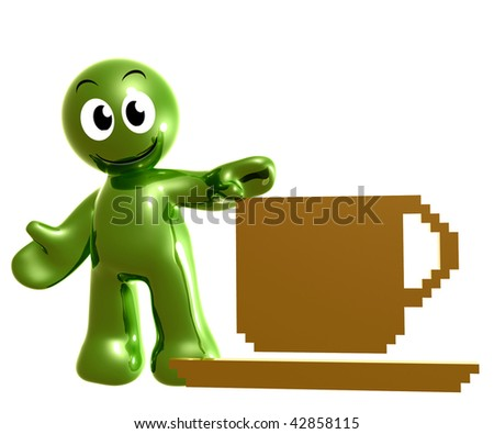 Friendly 3d icon with low resolution style coffee cup break symbol