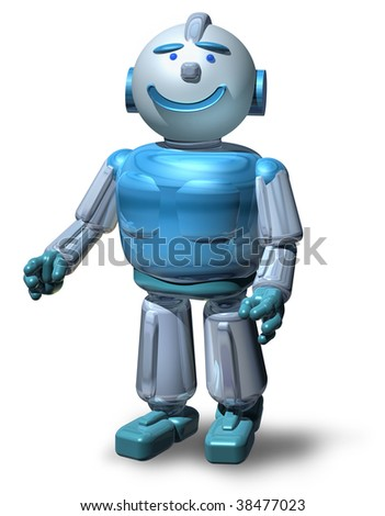 Friendly 3D robot character ready to serve you, isolated on white, with drop shadow - stock photo