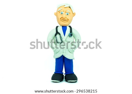 Friendly doctor made in plasticine smiling - stock photo