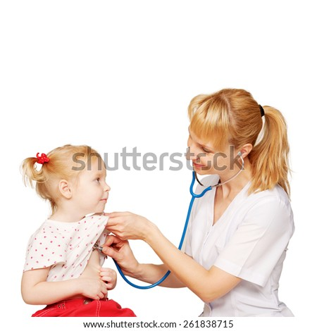 Friendly doctor performs auscultation of heart and lungs of the recovered baby kid. Isolated on white background