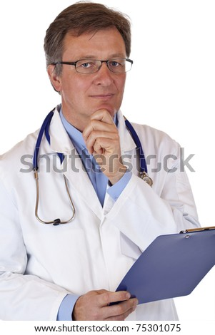 Friendly elderly doctor with medical report looks thoughtful. Isolated on white background..