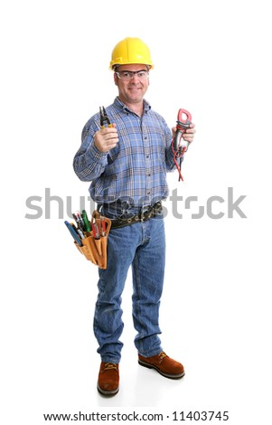 Friendly electrician in safety gear with his wire strippers & voltage meter.  Full body isolated on white.