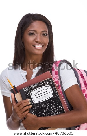 Friendly ethnic female with backpack and composition book