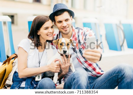 Friendly Family Male Female Their Pet Stock Photo 711388354 ...