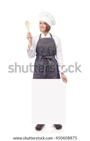 friendly female chef, cook or baker holding blank board with empty copy space for you text isolated on white background. advertisement banner. your text here - stock photo