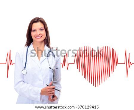 Friendly female doctor - stock photo