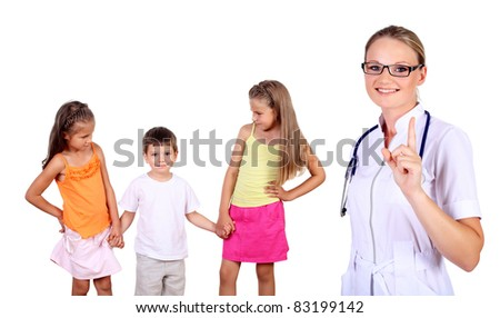 Friendly female doctor and family with children on the background - stock photo