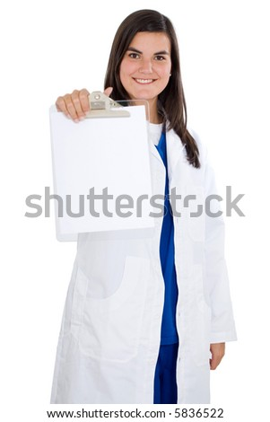 friendly female doctor holding a notepad isolated over a white background