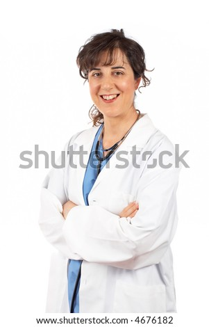 Friendly female doctor in lab coat with stethoscope - stock photo
