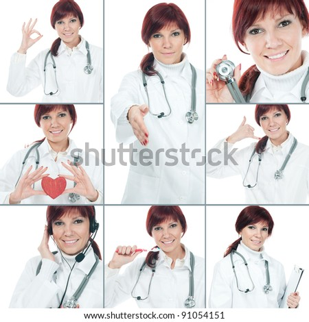 Friendly female young doctor collage - stock photo