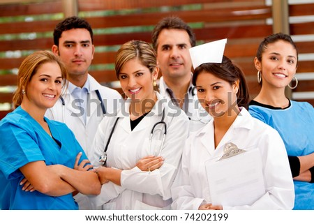 Friendly group of doctors at the hospital