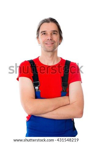 friendly handcrafter with crossed arms in front of white background - stock photo
