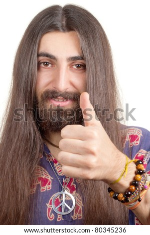 Friendly hippie with long hair making agree sign - stock photo