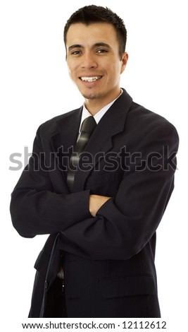 Friendly, Hispanic businessman. - stock photo