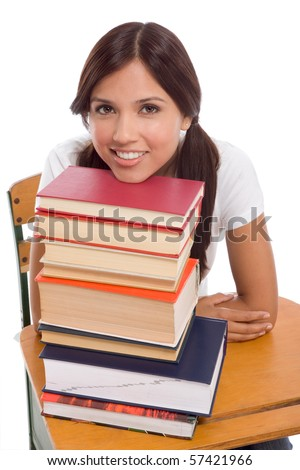 Friendly Hispanic College student with books - stock photo