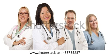 Friendly Hispanic Female Doctor and Colleagues Isolated on a White Background. - stock photo