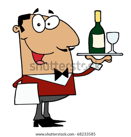 Friendly Hispanic Male Butler Serving Wine - stock photo
