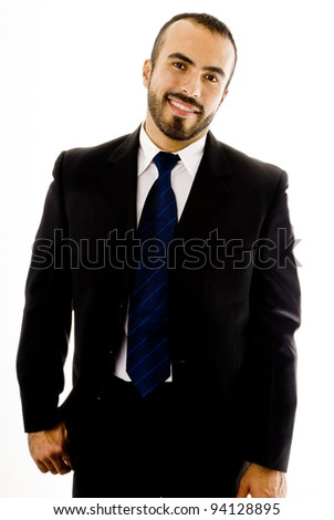 Friendly hispanic man in a suit - stock photo