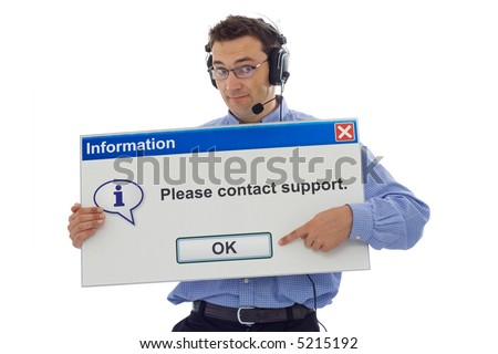 Friendly IT support staff member with computer message box pointing the customer in the right direction - isolated - stock photo