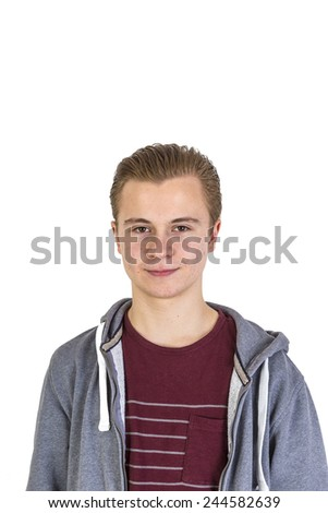 friendly looking teenage boy isolated on white - stock photo