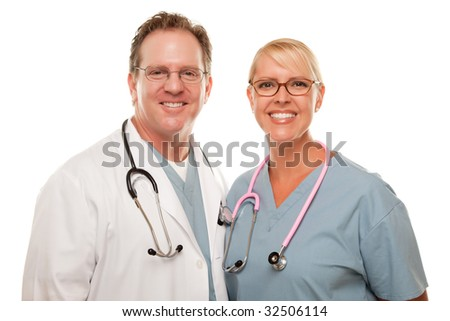 Friendly Male and Female Doctors Isolated on a White Background. - stock photo