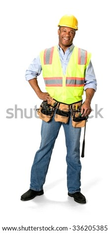 Friendly Male Construction Worker with short black hair in uniform with hands on hips - Isolated - stock photo