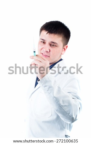 Friendly male doctor isolated at the white background