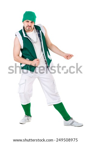 friendly man dressed like a funny gnome dancing Isolated on white background in full length. - stock photo