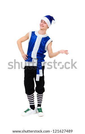 friendly man dressed like a funny gnome posing on an isolated white background - stock photo