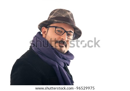 Friendly man portrait with hat on white background.
