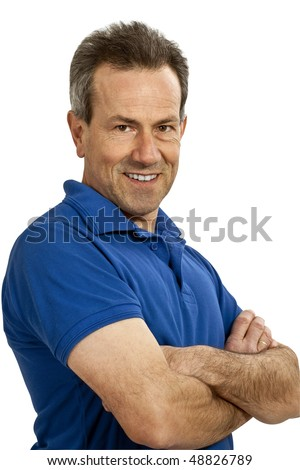 friendly man with arms crossed, (with Clipping Path) - stock photo