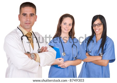 Friendly medical team - Healthcare workers - over a white background