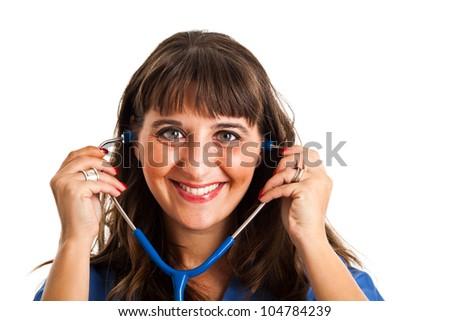 Friendly nurse portrait - stock photo