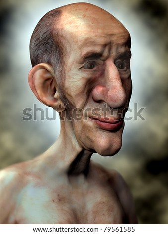 Friendly Old Man 3D Illustration infront of a dramatic background