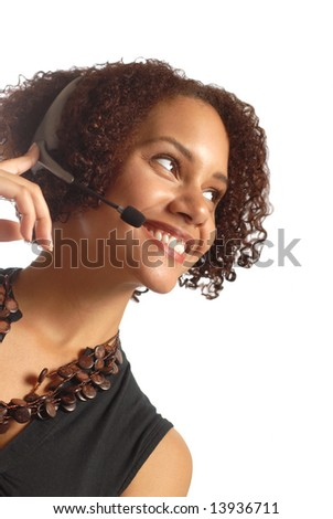 Friendly operator looking into copy space; isolated on white - stock photo