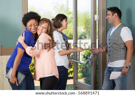 Friendly people greeting each other stock photo safe to use friendly people greeting each other m4hsunfo