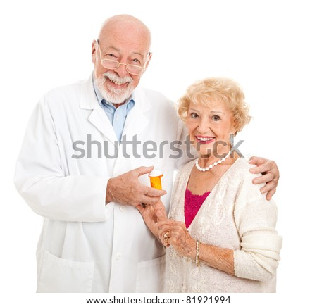 Friendly pharmacist and his customer.  Isolated on white.