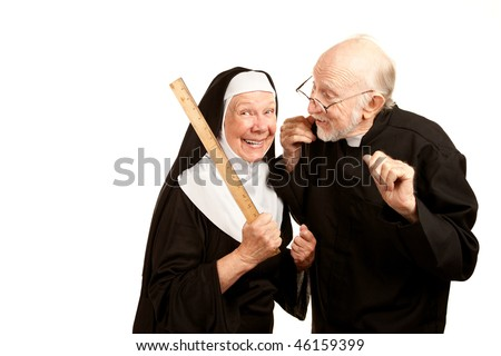 Friendly priest admonishes angry nun for using ruler as a corporal punishment tool - stock photo