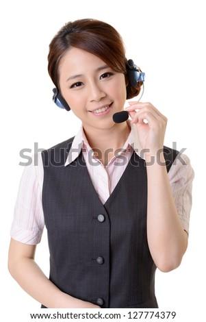 Friendly secretary or telephone operator on white background. - stock photo
