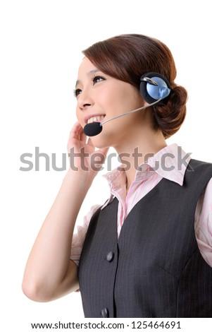 Friendly secretary/telephone operator on white background. - stock photo
