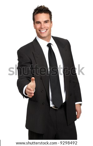 Friendly smiling businessman. Isolated over white background