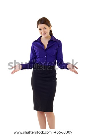 Friendly smiling businesswoman. Isolated over white background