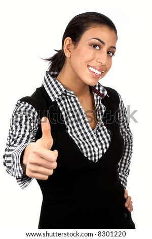 Friendly smiling businesswoman. Isolated over white background - stock photo