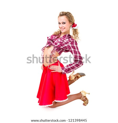 friendly smiling girl dancing against isolated white background