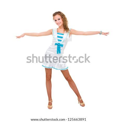 friendly smiling girl posing against isolated white background - stock photo